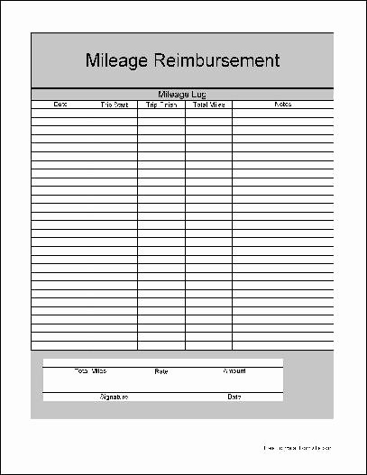 Mileage Reimbursement form Template Fresh Mileage Reimbursement form