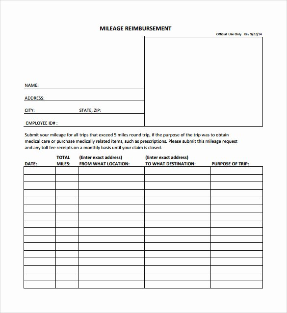 Mileage Reimbursement form Template Fresh Sample Mileage Reimbursement form 8 Download Free