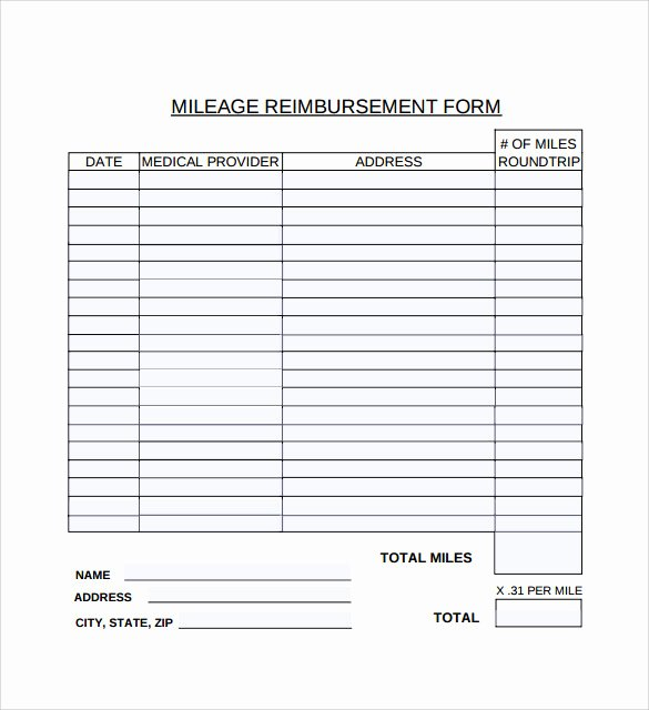 Mileage Reimbursement form Template Lovely Mileage Reimbursement form 8 Download Free Documents In