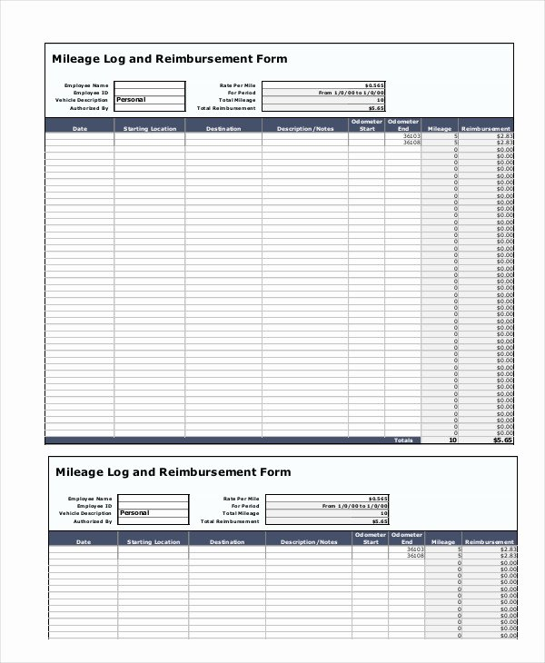 Mileage Reimbursement form Template Luxury Mileage Reimbursement form 9 Free Sample Example