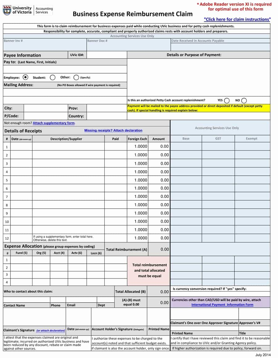 Mileage Reimbursement form Template Unique 47 Reimbursement form Templates [mileage Expense Vsp]