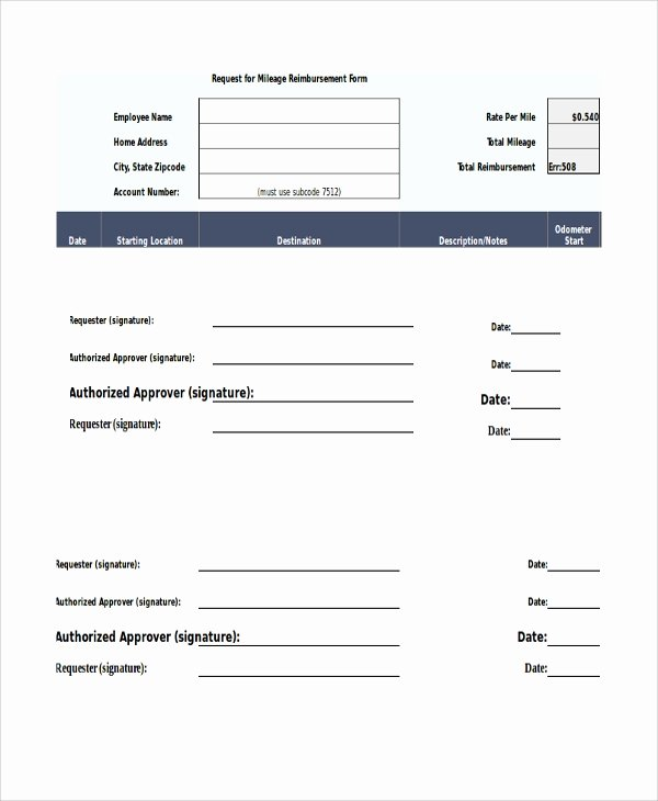 Mileage Reimbursement form Template Unique Sample Mileage Reimbursement form 11 Examples In Word