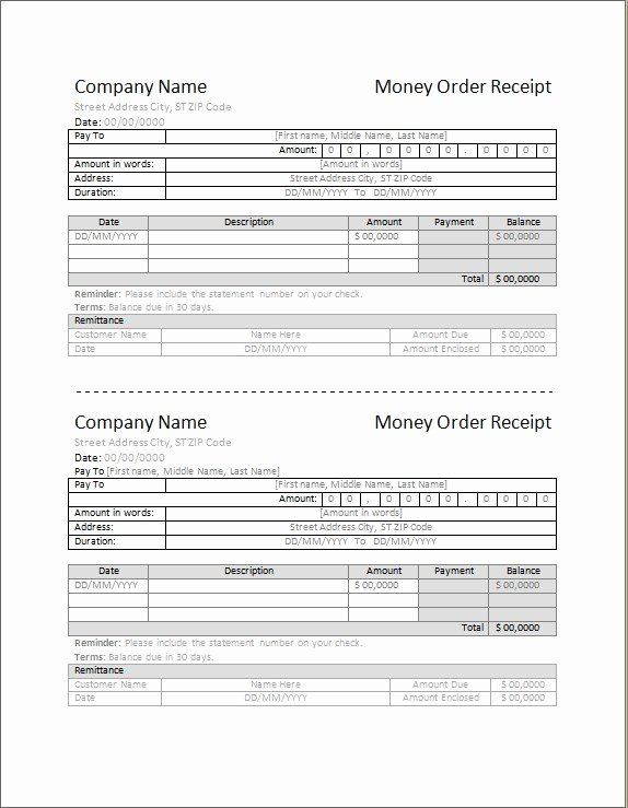 Money order Receipt Template Awesome 4 Best Money order Receipt Template