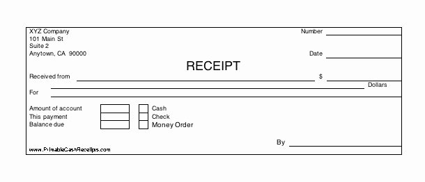 Money order Receipt Template Elegant Three Identical Horizontal Cash Receipts Print Out Per