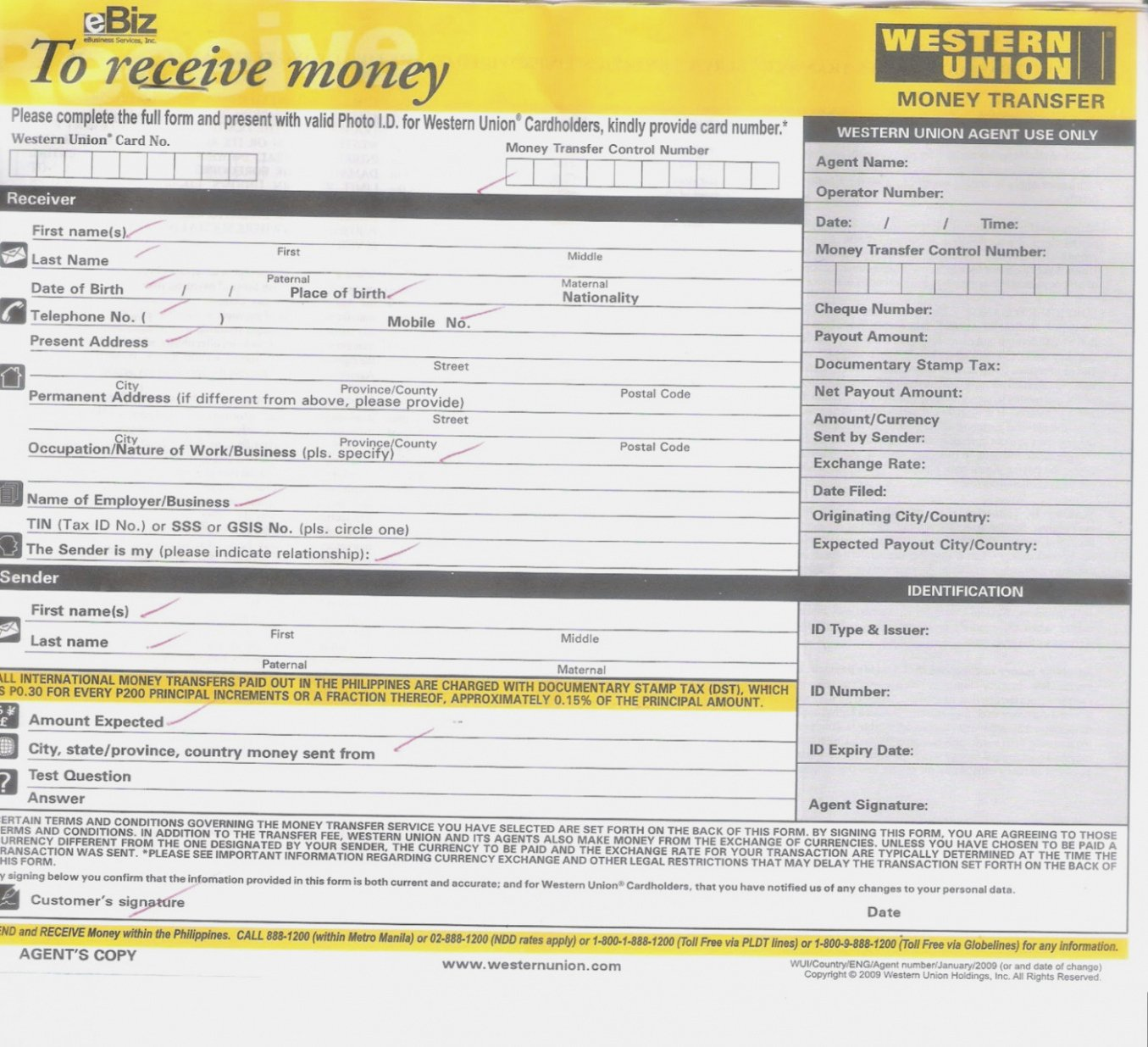 Money order Receipt Template Unique Printable Western Union Receipt Sample Receive form