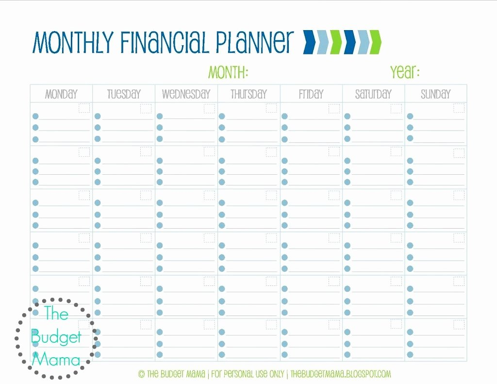 Monthly Budget Calendar Template New Monthly Financial Planning Jessi Fearon