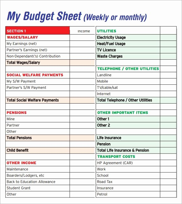 Monthly Budget Template Pdf Unique Free 5 Sample Bud Sheets In Pdf