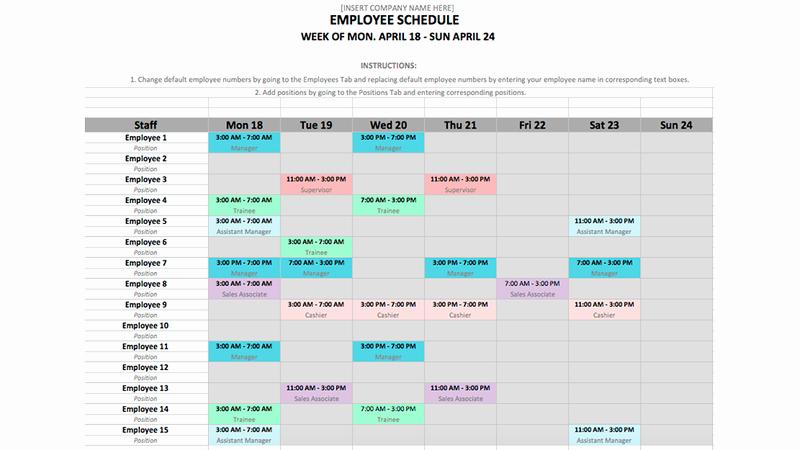 Monthly Employee Schedule Template Beautiful Employee Schedule Template In Excel and Word format