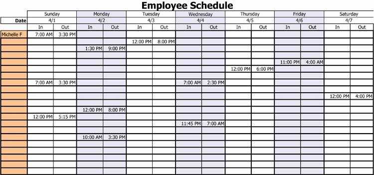 Monthly Employee Schedule Template Best Of 3 Professional Work Schedule Templates for Employees