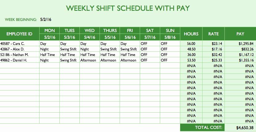 Monthly Employee Schedule Template Elegant Employee Schedule Template Excel