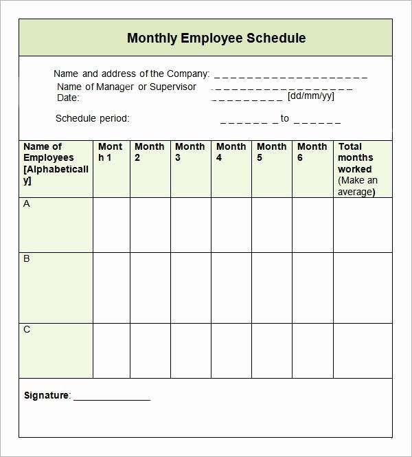 Monthly Employee Schedule Template Fresh Sample Monthly Schedule Template 10 Free Documents In