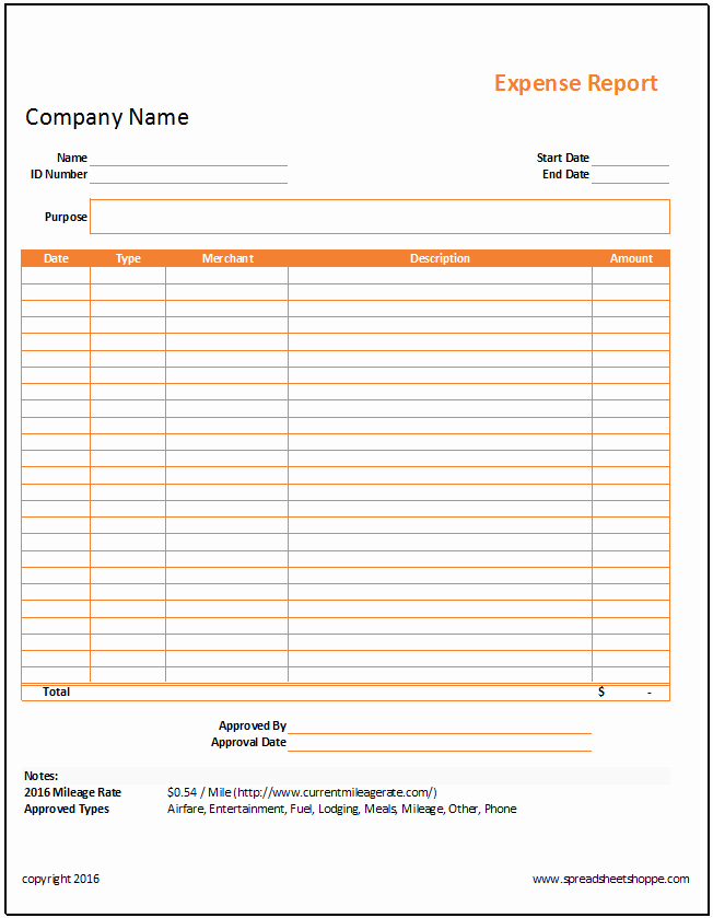 Monthly Expense Report Template Fresh Simple Expense Report Template Spreadsheetshoppe