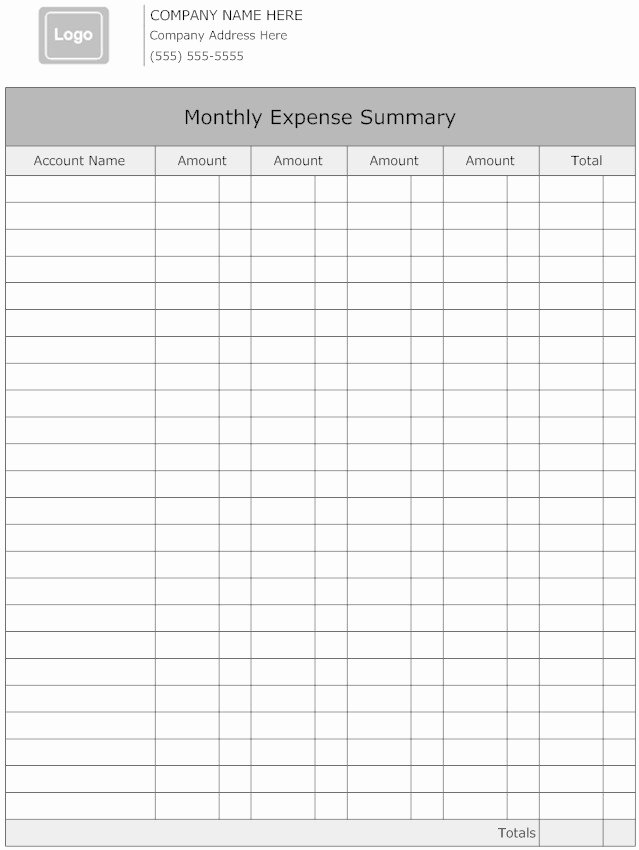Monthly Expense Report Template Lovely Blank and Editable Monthly Business Expense Report