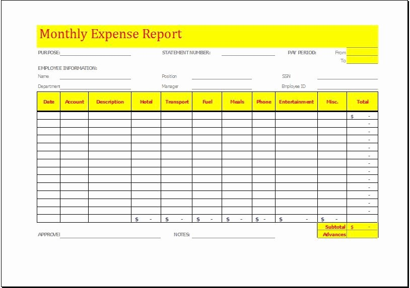 Monthly Expense Report Template New Monthly Expense Report Template Download at