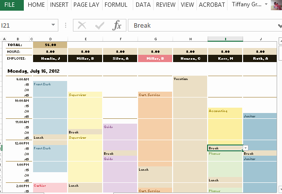 Monthly Staff Schedule Template Awesome Employee Schedule & Hourly Increment Template for Excel