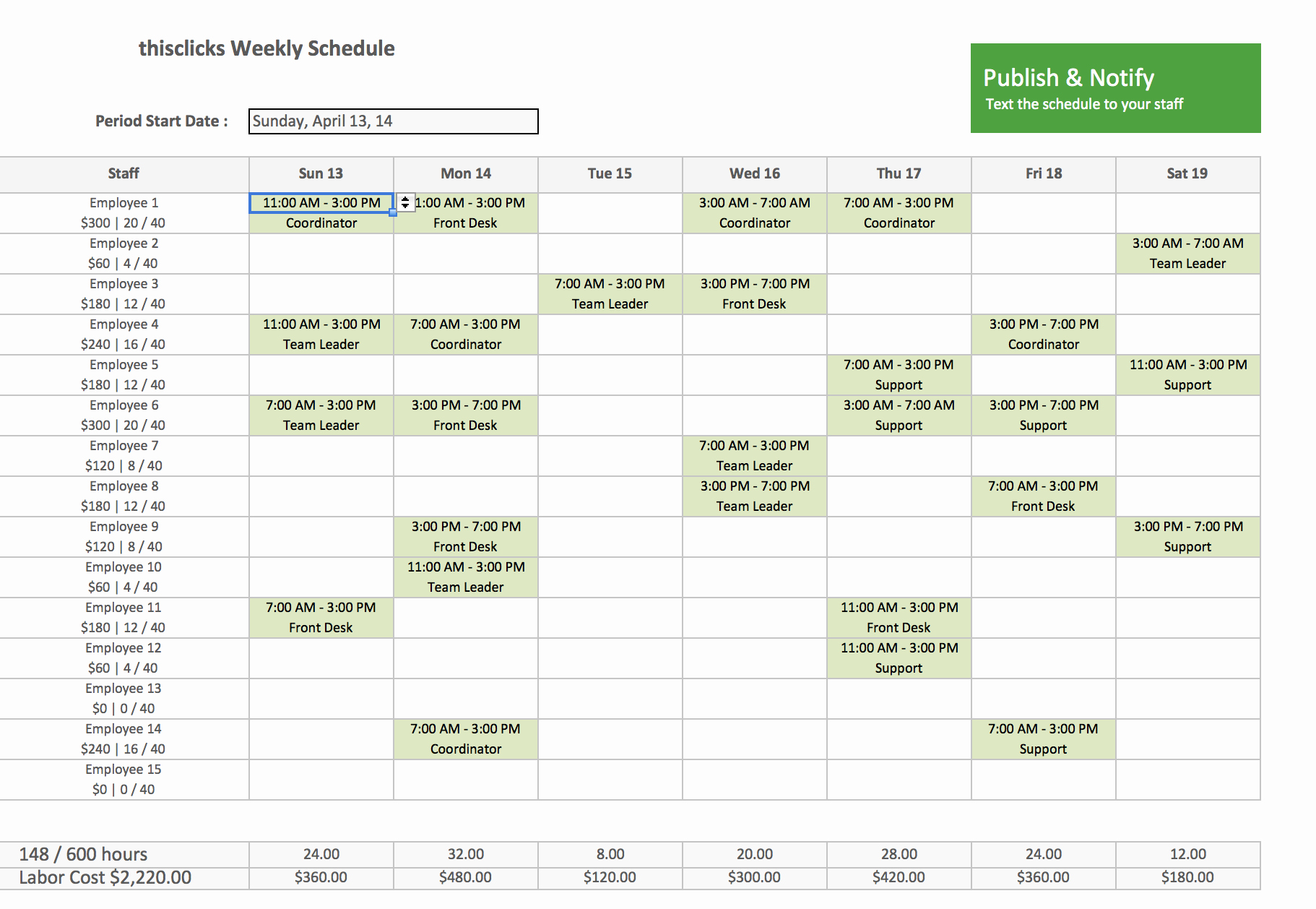 Monthly Staff Schedule Template Awesome Monthly Employee Schedule Template Excel
