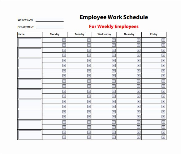 Monthly Staff Schedule Template Lovely 9 Weekly Work Schedule Templates Pdf Docs
