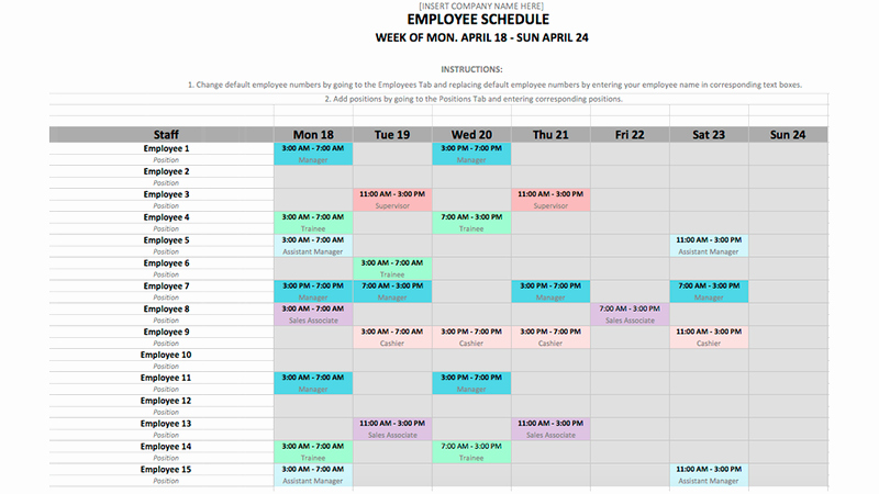 Monthly Staff Schedule Template Unique Employee Schedule Template In Excel and Word format