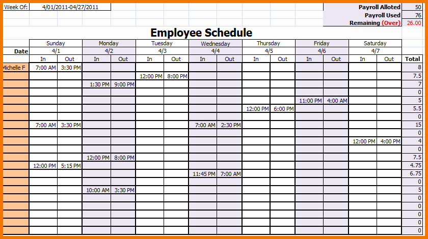 Monthly Staff Schedule Template Unique Monthly Work Schedule Template