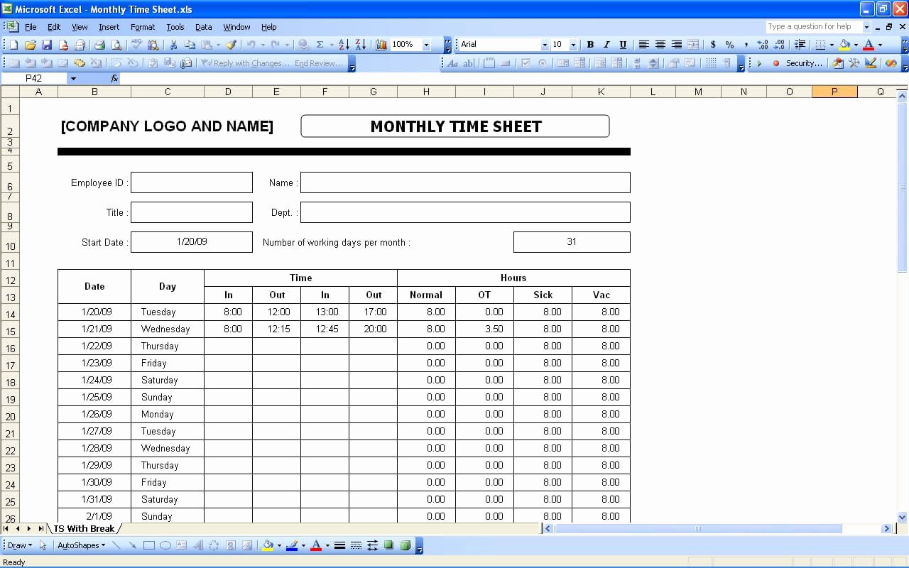 Monthly Timesheet Template Excel Awesome Time Sheets