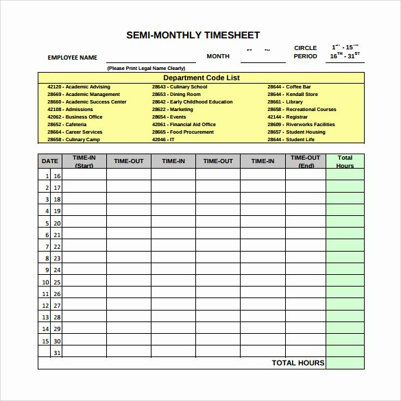 Monthly Timesheet Template Excel Inspirational Free 23 Sample Monthly Timesheet Templates In Google Docs