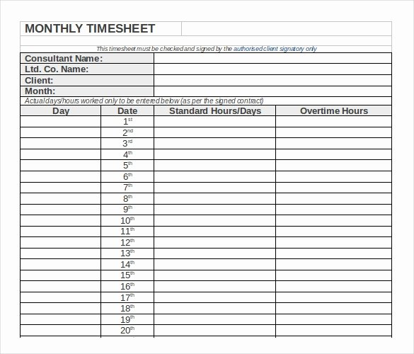 Monthly Timesheet Template Excel Lovely 26 Monthly Timesheet Templates Free Sample Example