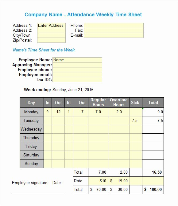 Monthly Timesheet Template Excel Unique Excel Timesheet Templates 7 Free Download for Excel
