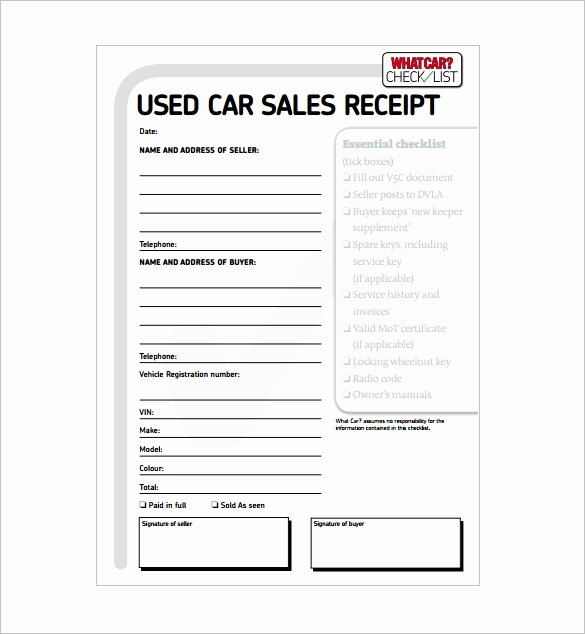 Motel 6 Receipt Template Fresh Car Sales Invoice Template Free