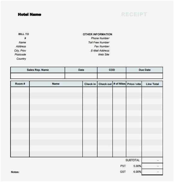 Motel 6 Receipt Template Lovely Download 57 Hotel Receipt Template Download