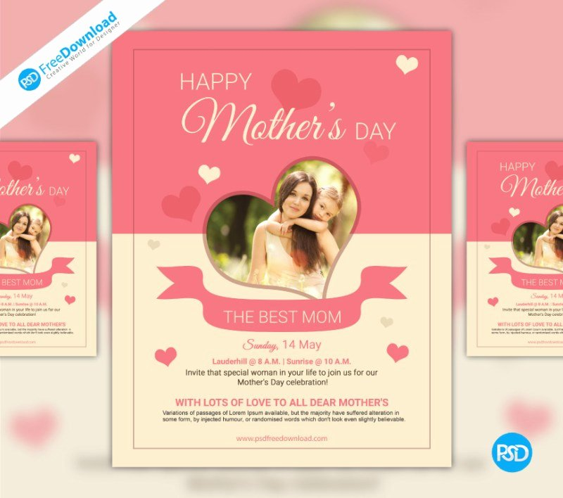 Mother Day Flyer Template Free Awesome Free Mothers Day Psd Flyer Template