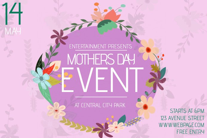 Mother Day Flyer Template Free Awesome Landscape Mothers Day event Flyer Template