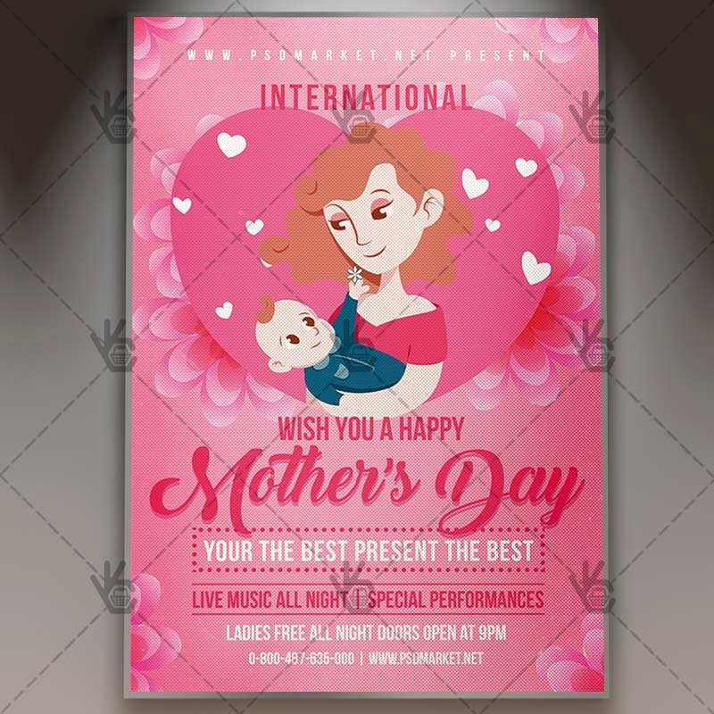 Mother Day Flyer Template Free Elegant Mothers Day Flyer Club Psd Template