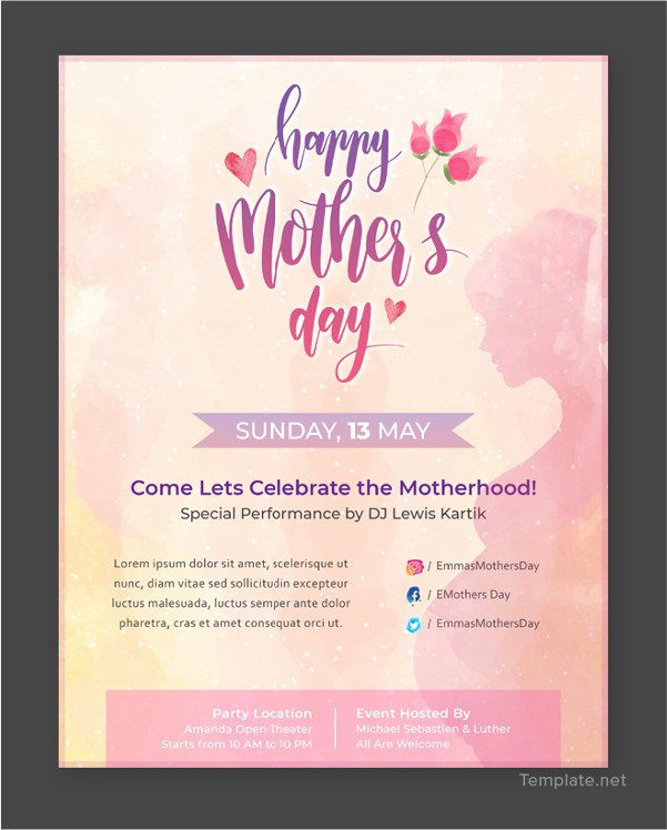 Mother Day Flyer Template Free Inspirational 30 Free Mother S Day Templates Psd