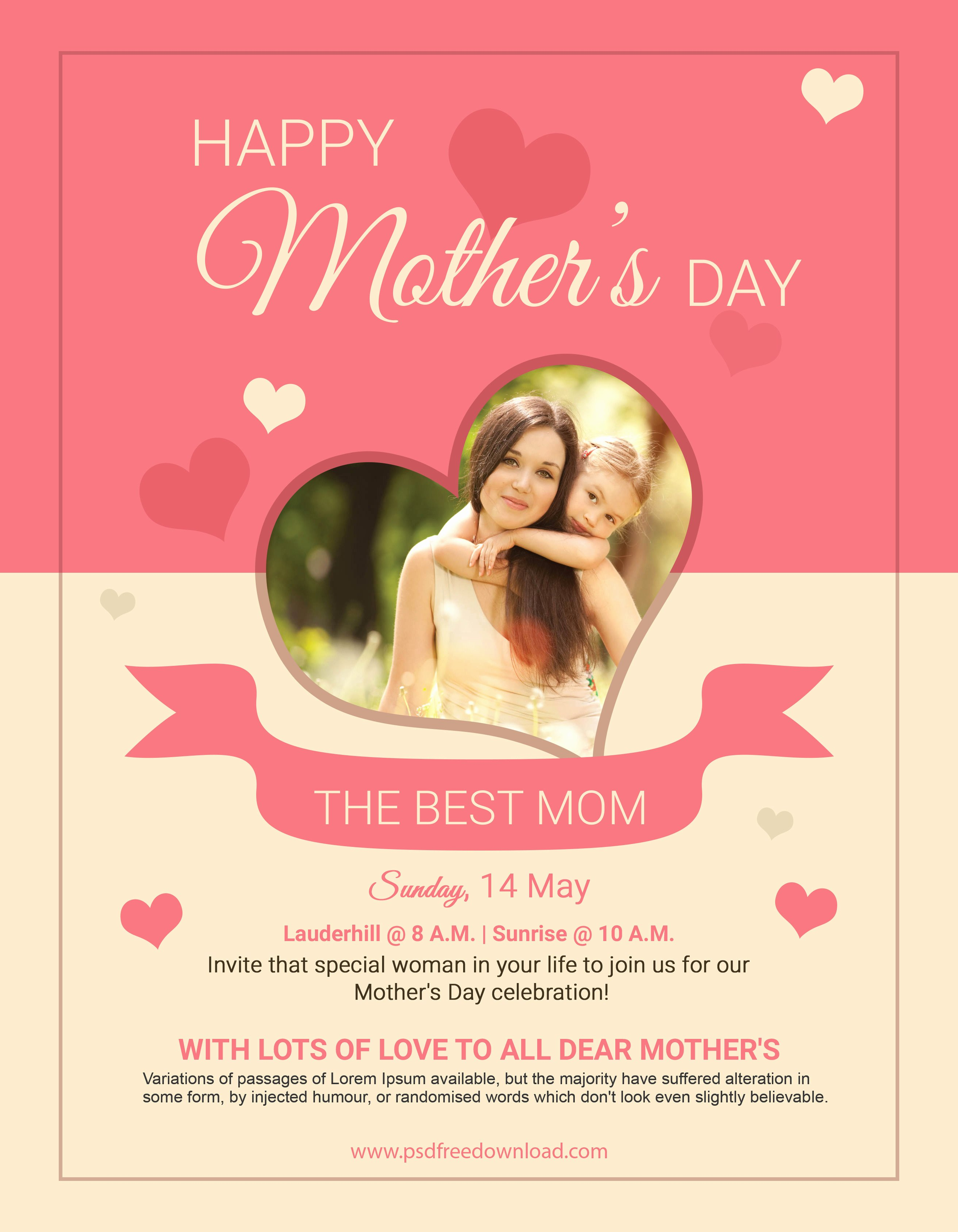 Mother Day Flyer Template Free Lovely Free Mothers Day Psd Flyer Template