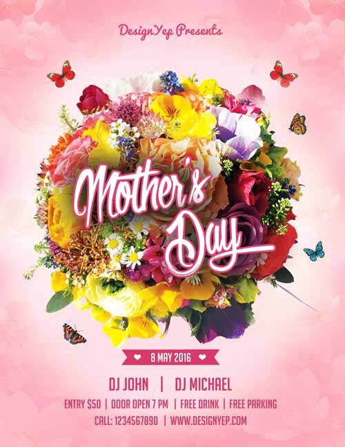 Mother Day Flyer Template Free Unique Happy Mothers Day Free Flyer Psd Template