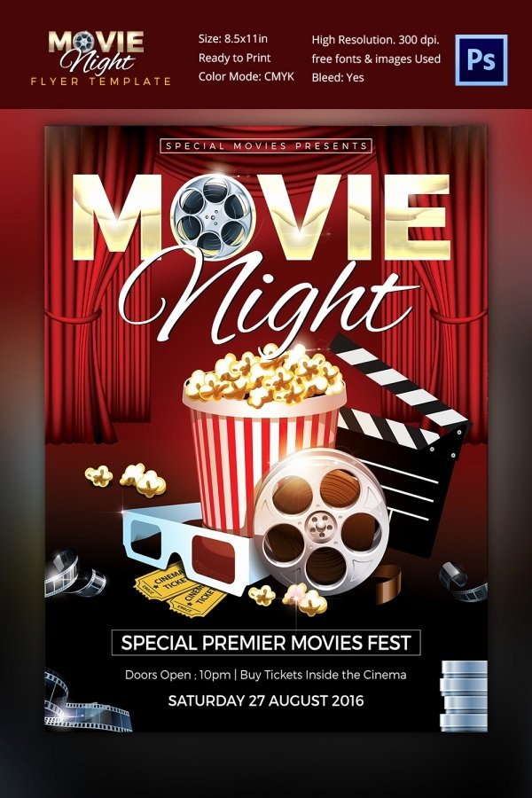 Movie Night Flyer Template Awesome Movie Night Flyer Template 25 Free Jpg Psd format