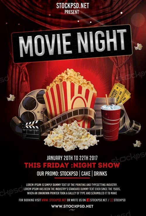 Movie Night Flyer Template Beautiful Movie Night Free Flyer Template Download Flyer Templates