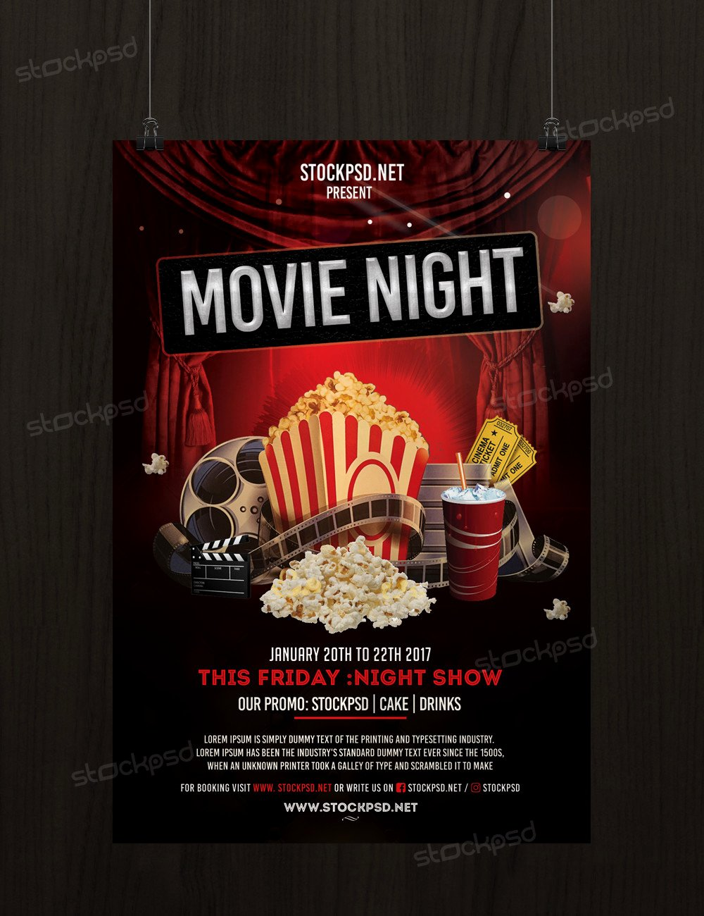 Movie Night Flyer Template Beautiful Movie Night Free Psd Flyer Template Stockpsd