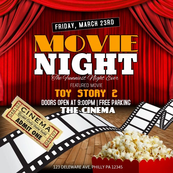 Movie Night Flyer Template Beautiful Movie Night Template