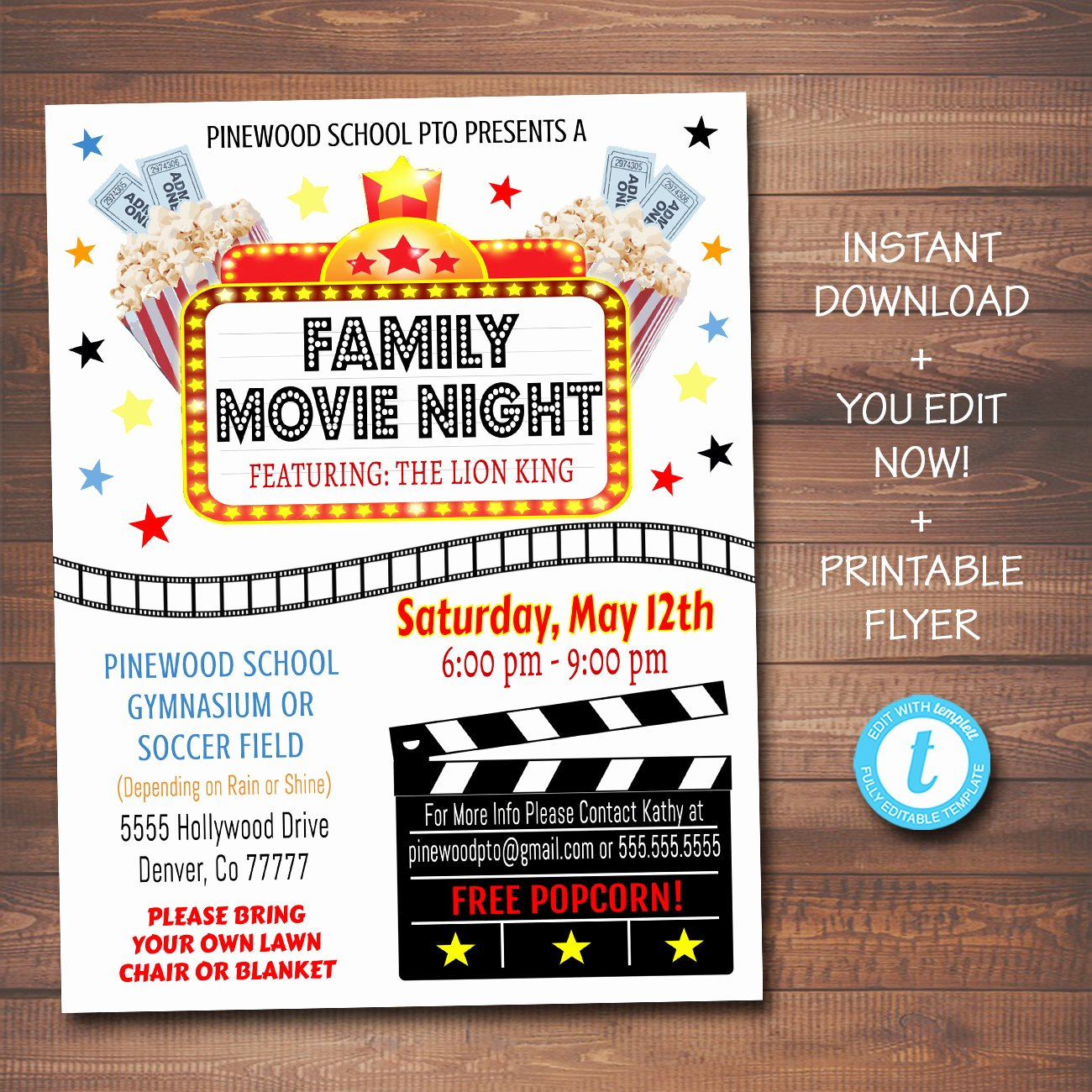 Movie Night Flyer Template Best Of Editable Movie Night Flyer Printable Pta Pto Flyer School