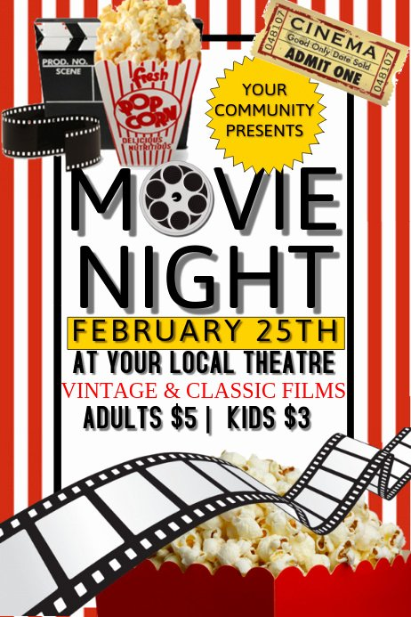 Movie Night Flyer Template Elegant Movie Night Template