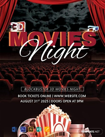 Movie Night Flyer Template Fresh Free 3d Movies Night Flyer Template Download 1423 Flyers