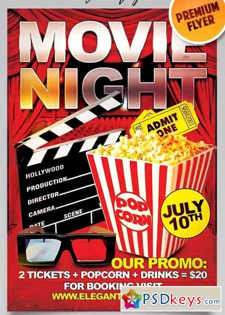 Movie Night Flyer Template Fresh Movie Night Flyer Psd Template Cover Free