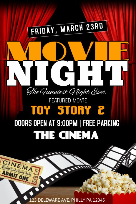 Movie Night Flyer Template Fresh Movie Night Template