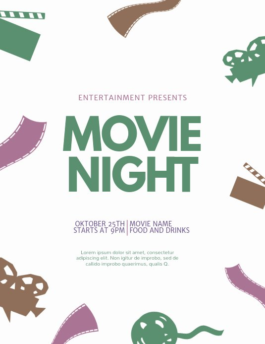 Movie Night Flyer Template Inspirational Copy Of Movie Night Flyer Template