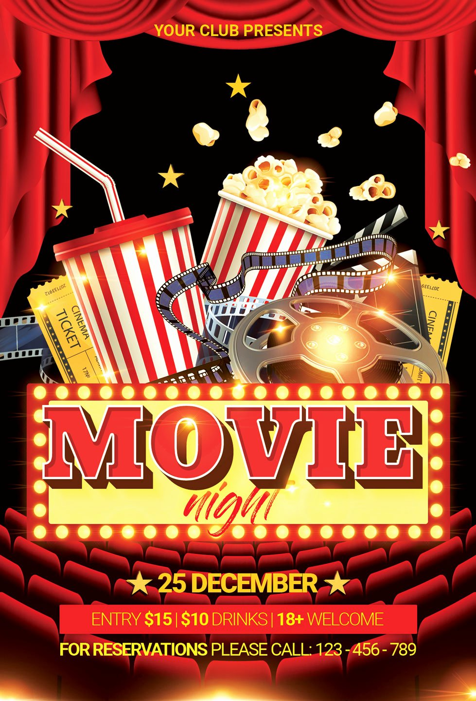 Movie Night Flyer Template Inspirational Movie Night Flyer
