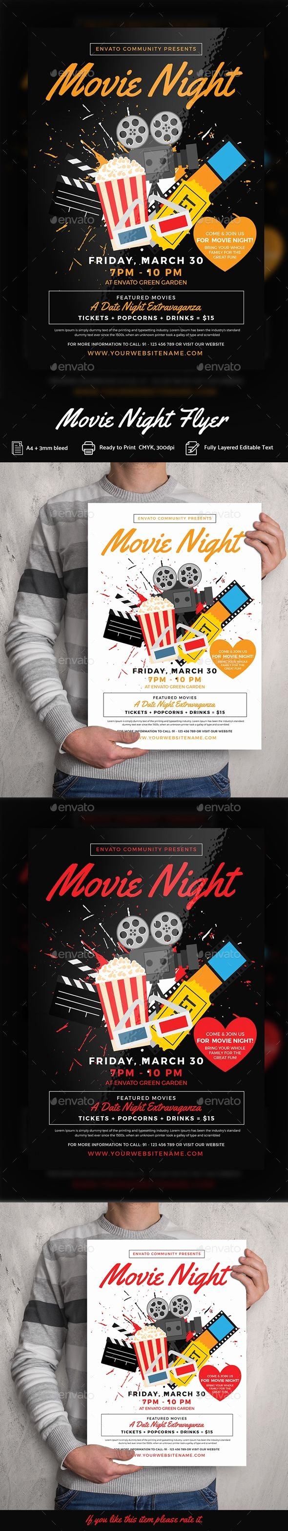 Movie Night Flyer Template Inspirational Movie Night Flyer Templates