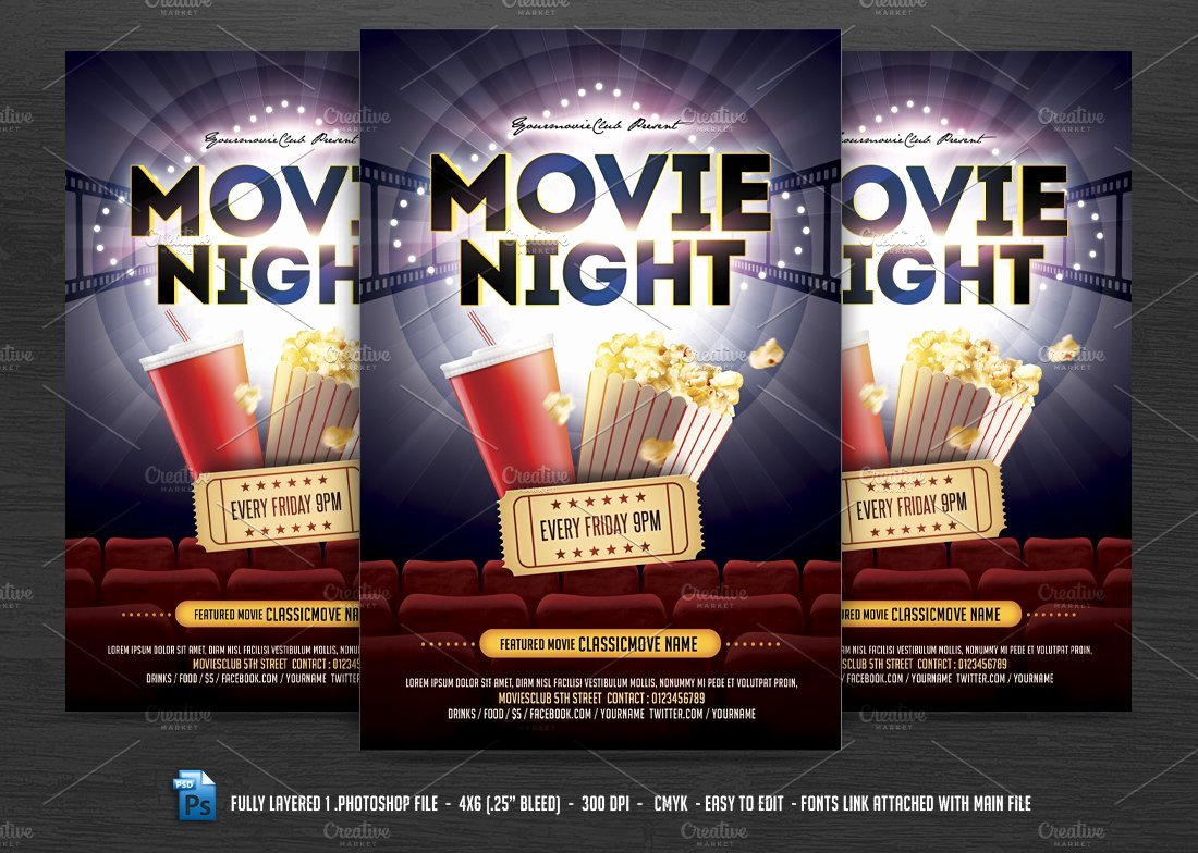 Movie Night Flyer Template Luxury Movie Night Flyer Flyer Templates Creative Market