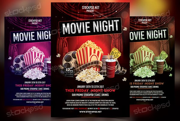 Movie Night Flyer Template Luxury Movie Night Free Psd Flyer Template On Behance