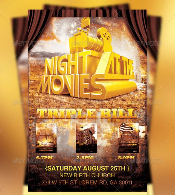 Movie Night Flyer Template Unique 20 Movie Night Flyer Templates Ai Psd Word